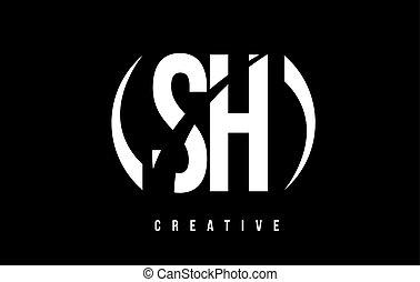 SH S H White Letter Logo Design with Black Background. - SH...
