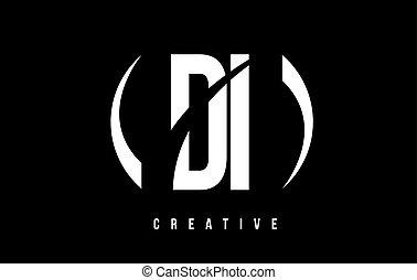 DI D I White Letter Logo Design with Black Background. - DI...