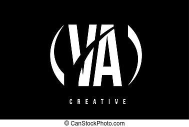 VA V A White Letter Logo Design with Black Background. - VA...