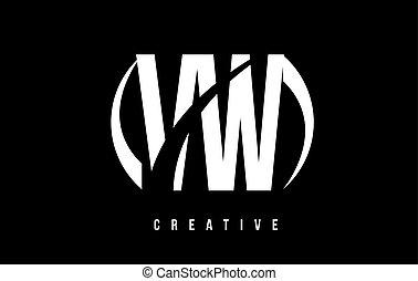 VW V W White Letter Logo Design with Black Background. - VW...