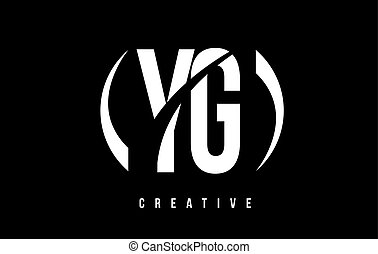 YG Y G White Letter Logo Design with Black Background. - YG...