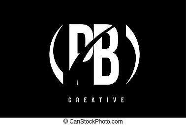 PB P B White Letter Logo Design with Black Background. - PB...