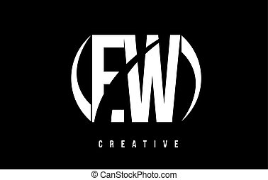 EW E W White Letter Logo Design with Black Background. - EW...