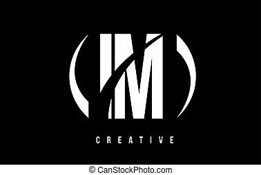 IM I M White Letter Logo Design with Black Background. - IM...
