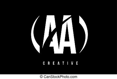 AA A White Letter Logo Design with Black Background. - AA A...