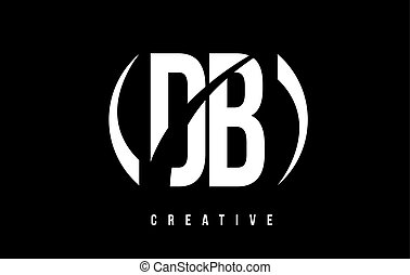 DB D B White Letter Logo Design with Black Background. - DB...