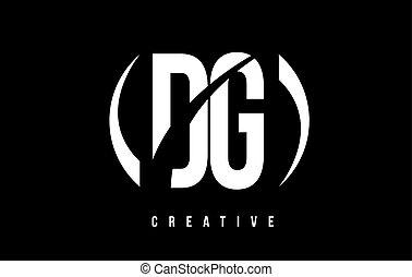 DG D G White Letter Logo Design with Black Background. - DG...