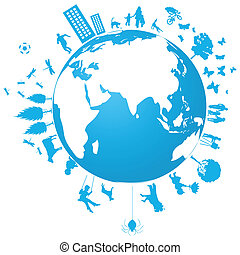 Blue planet and its inhabitants. A vector illustration