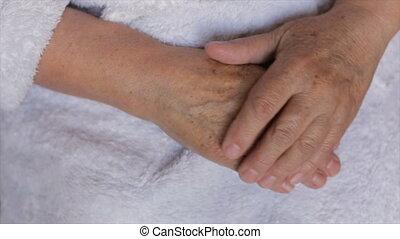 Hands of an elderly woman,full hd video