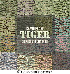 Tiger stripe Camouflage seamless patterns of different...