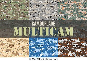 Set of Multicam Camouflage seamless patterns. Military...