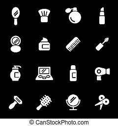 Vector white cosmetics icons set