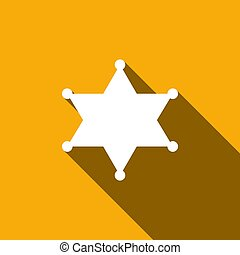 Hexagram sheriff star badge flat icon with long shadow....