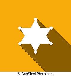 Hexagram sheriff star badge flat icon with long shadow....