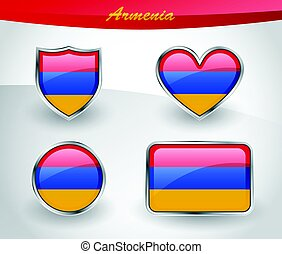 Glossy Armenia flag icon set with shield, heart, circle and...