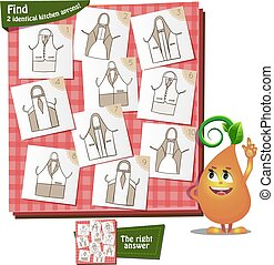2 identical aprons - Visual Game for children. Task: Find 2...