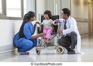 Nurse Doctor and Female Girl Child Hospital Patient in...