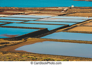 Salinas de Janubio, salt mine at the island of lanzarote,...