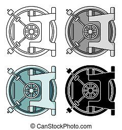 Bank vault icon in cartoon style isolated on white...