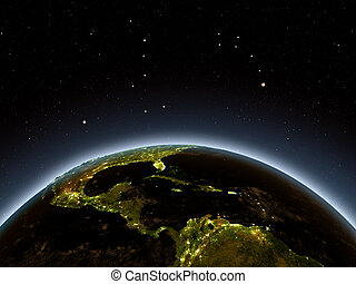 Central America at night from Earth's orbit in space. 3D...