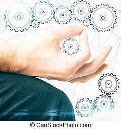 Teamwork concept - Creative image of male hand drawing...