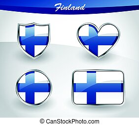 Glossy Finland flag icon set