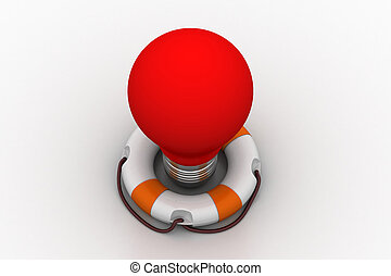 Red light bulb with lifebuoy
