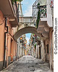 Ortona, Abruzzo, Italy: alley in the old town - Ortona,...