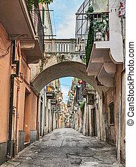 Ortona, Abruzzo, Italy: alley in the old town - Ortona,...