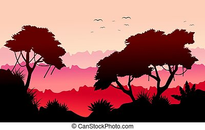 Landscape tree on the jungle silhouette