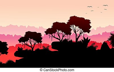 Collection rain forest scenery silhouette vector art
