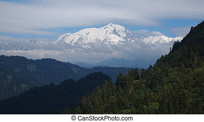 The famous White Mount called the Mont Blanc viewed from the...