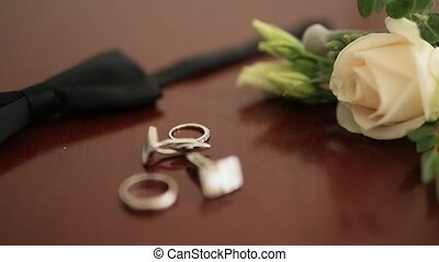 Wedding groom accessories. Bow tie, cufflinks, boutonniere,...