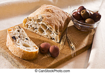 Olive bread - Fresh sliced olive bread close up shoot
