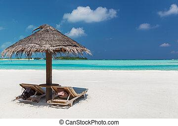playa,  sunbeds, maldivas,  Palapa