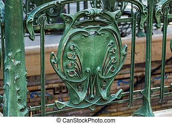 Famous Art Nouveau sign for the Metropolitain underground...