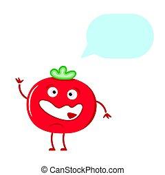 Cute tomato thinking isolated on white background