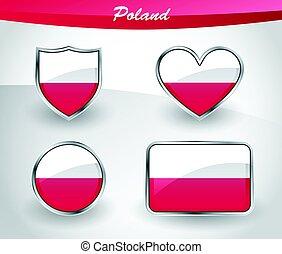 Glossy Poland flag icon set