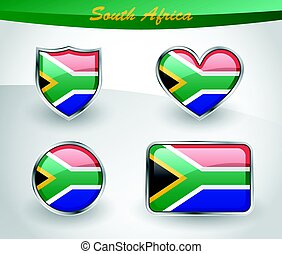 Glossy South Africa flag icon set