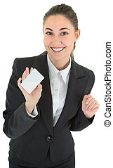 business woman with blank payment card - portrait of woman...