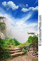 escalera, Ruinas, antiguo, Cueva, ciudad