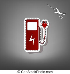 Electric car charging station sign. Vector. Red icon with...