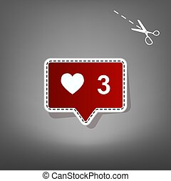 Like and comment sign. Vector. Red icon with for applique from paper with shadow on gray background with scissors.