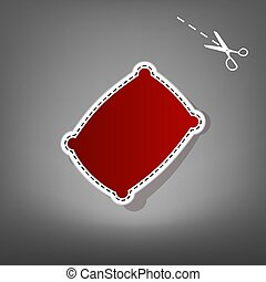 Pillow sign illustration. Vector. Red icon with for applique...