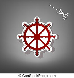 Ship wheel sign. Vector. Red icon with for applique from paper with shadow on gray background with scissors.
