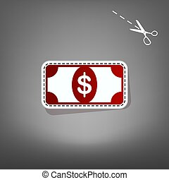 Bank Note dollar sign. Vector. Red icon with for applique from paper with shadow on gray background with scissors.