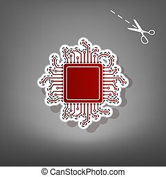 CPU Microprocessor illustration. Vector. Red icon with for...