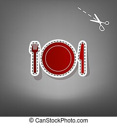 Fork, plate and knife. Vector. Red icon with for applique from paper with shadow on gray background with scissors.