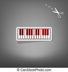 Piano Keyboard sign. Vector. Red icon with for applique from paper with shadow on gray background with scissors.