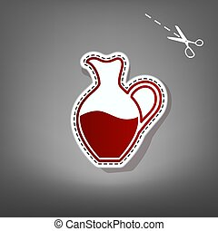 Amphora sign. Vector. Red icon with for applique from paper...